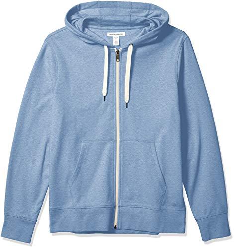 Amazon Essentials Leichtes French Terry Kapuzen-Sweatshirt mit durchgehendem Reißverschluss Felpa con Cappuccio, Blu, S