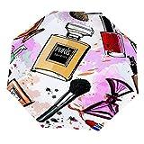 Paraguas anti-UV para sol/lluvia,Girly Watercolor Cosmetics Perfumes Lápiz labial Cepillo de esmalte de uñas Paraguas de viaje a prueba de viento: compacto, automático.