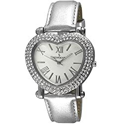 Silver Heart Wrist Watch with Crystal Studded Case & Leather Strap