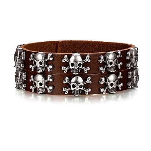 EVER FAITH Armband Damen Männer Leder Manschette Cool Pirate Rock Punk Biker Skelett Armreif