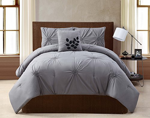 VCNY Home London Pintuck 4 Piece Comforter Set, Queen, Grey