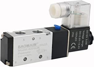 Baomain Pneumatic Air Control Solenoid Valve 4V210-08 DC 12V 5 Way 2 Position PT1/4 Internally Piloted Acting Type Single Electrical Control