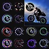 Herefun 2pz Luci Ruote Bicicletta, Luci Bici da Bicicletta a LED Impermeabile Luci LED Bicicletta Luce a Raggi LED Bicicletta Luci di Sicurezza Pneumatici Mountain Bike 30 Grafiche (Interruttore)