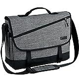 VASCHY ショルダーバッグ メンズ 大容量メッセンジャーバッグ17インチPC収納 15つの収納ポケット 斜めがけバッグ 軽量 撥水加工 A4 カバン 通勤 通学 旅行 手提げバック 荷物ベルト付き グレー