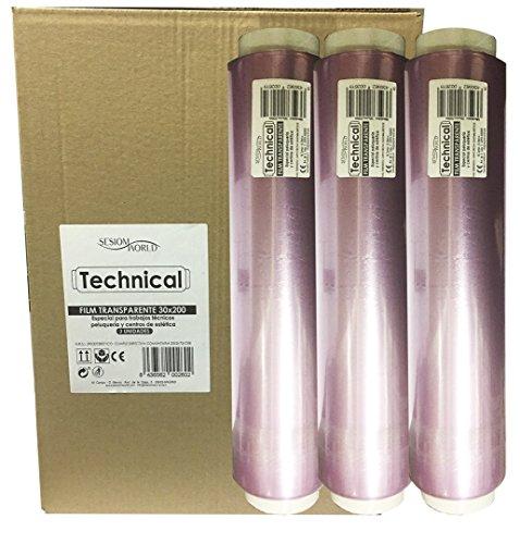 Sesiomworld Boîte de 3 rouleaux de film opaque transparent technique 30 cm 3 x 200 mètres professionnels 2400 g
