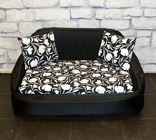 Medium Zippy Pet Sofa Dog Bed - Black Tulip - Waterproof Wipe Clean Sofa - Loose Cover Bed