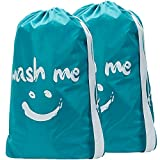 HOMEST 2 Pack Travel Laundry Bag with Strap, 28 x 40 Inches Wash Me Drawstring Dirty Clothes Bag, Large Hamper Liner, Rip-Stop Nylon, Machine Washable, Sky Blue?-