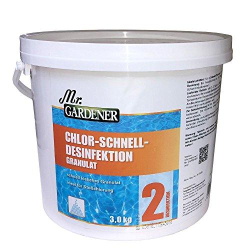 Chlor-Schnelldesinfektion 3 kg Pool Schwimmbad Desinfektion Algenbekämpfung