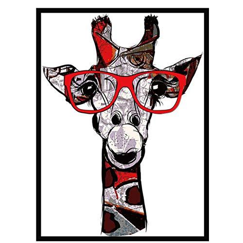 wekeke Estilo nórdico Nuevo póster de Arte Cuadros de Lienzo de Arte Pintura Animales Suaves con Gafas Imagen de la Pared Imprimir Imagen Moderna del hogar/50X70Cm Sin Marco