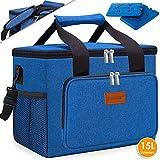KESSER 15L Kühltasche faltbar Groß Schultergurt Kühlkorb Kühlbox Isoliertasche Thermotasche Picknicktasche für Lebensmitteltransport Lunchtasche Isoliert für Aufbewahrung von Wärme und Kälte (Blau)