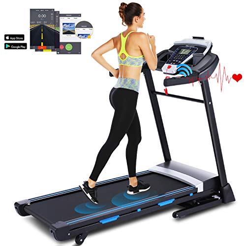 ANCHEER 3.25HP Folding Treadmill, Electric Automatic Incline Treadmill, Easy Assembly Fitness Motorized Running Jogging Machine with APP Control (Black) Treadmills