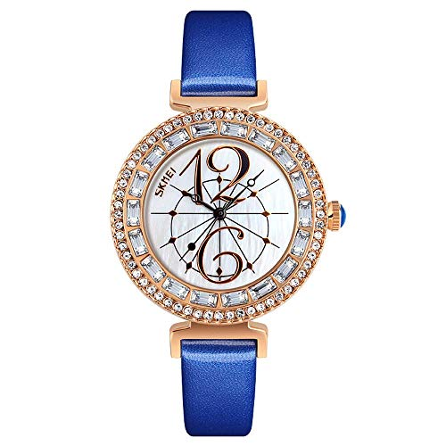 AZPINGPAN Reloj para Mujer,Esfera de nácar con Incrustaciones Diamantes Vestido Relojes de Cuarzo analógicos Al Aire Libre Impermeable Ocio Negocio Movimiento japonés Boutique Reloj Pulsera
