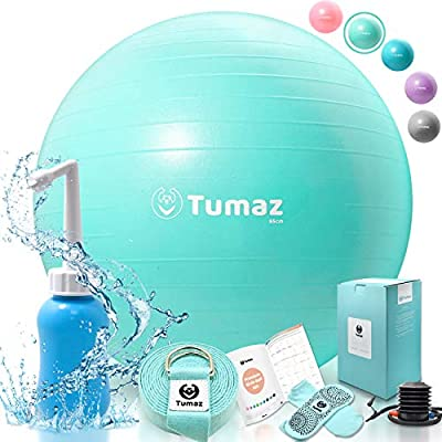 Tumaz Birth Ball Set - Exercise Ball + Yoga Strap + Peri Bottle + Non-slip Socks Premium Combo with Quick Foot Pump & Instruction Poster, Best All-in-One Gift for Every Mom(3 Colors & Sizes Available)