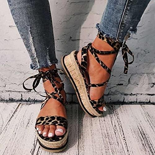 KovBexJa Sandalias De Verano para Mujer Tacones con Plataforma Correa Cruzada Punta del Tobillo 2021 Moda Fiesta En La Playa Zapatos para Mujer Estampado De Leopardo