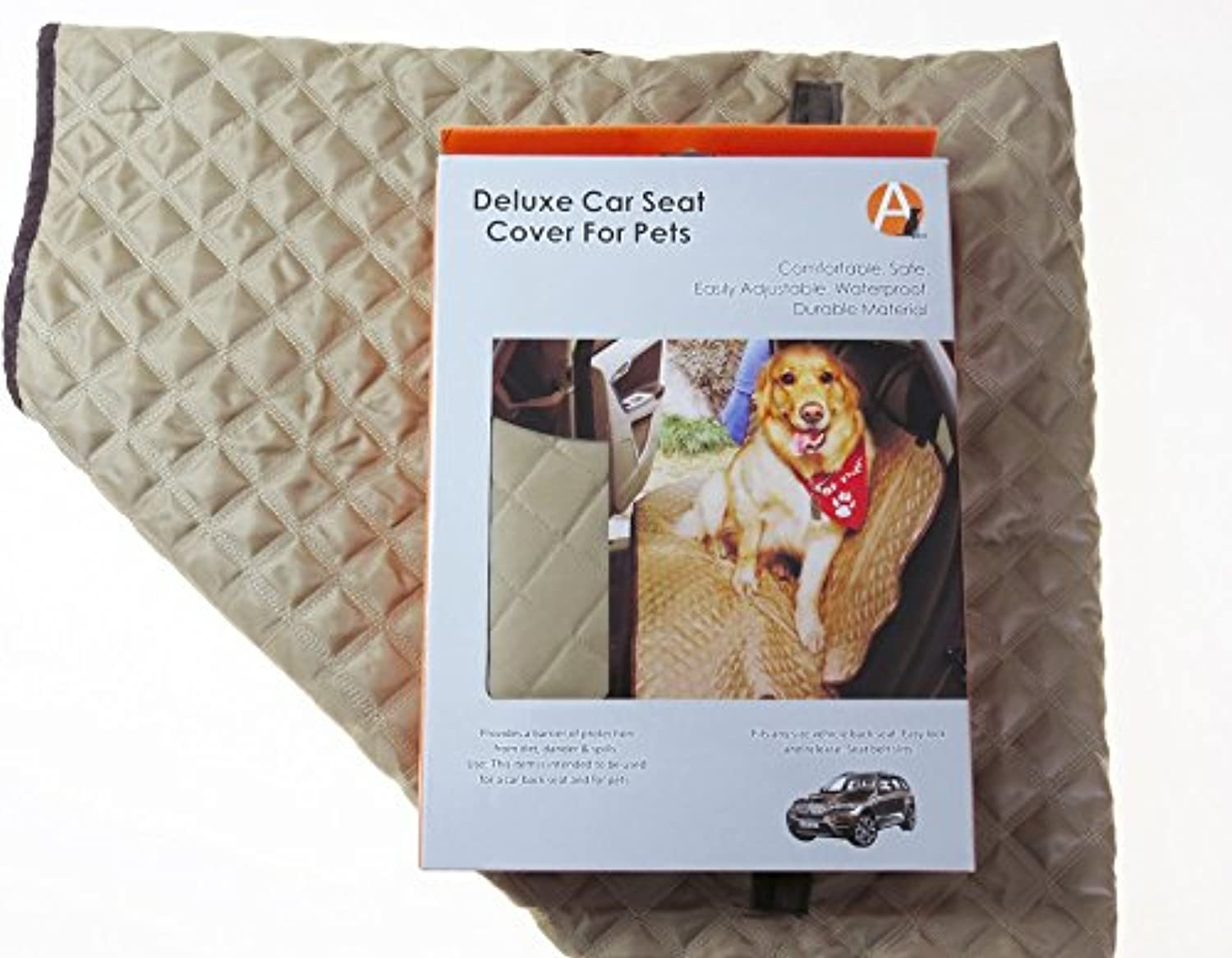Adog Deluxe Quilted Dog Car Back Seat Cover, Tan Brown