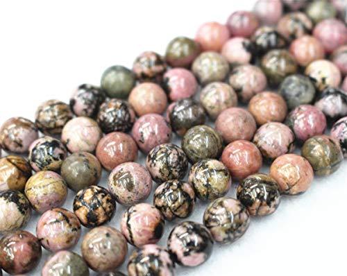 Gros perles en rhodonite naturelle, 4 mm, 6 mm, 8 mm, 10 mm, 12 mm, perles en rhodonite lisses et rondes. 6mm,63pcs