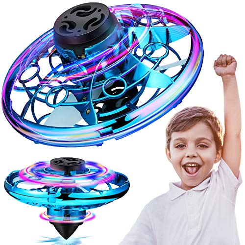 Charnoel Hand Operated Drone with LED Lights Indoor Outdoor Small UFO Toy Flying Ball Drone Toys Mini LED Hands Drone for Boys and Girls over 6 Years Old