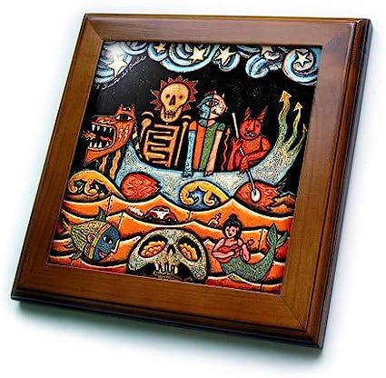 3drose Llc Ft 21127 1 The Devil Dream Folk Art Skulls Mexican Colorful Surrealism 8 By 8 Inch Home Kitchen Amazon Com