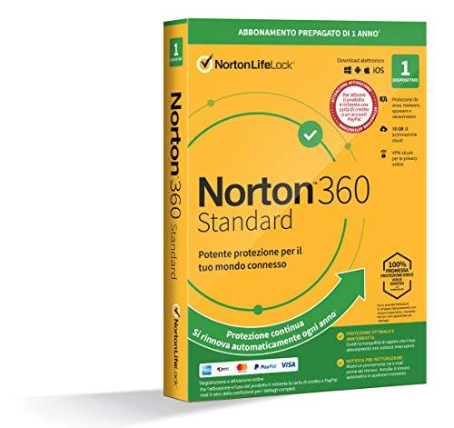 Norton 360 Standard 2021, Antivirus per 1 Dispositivo, Licenza di 1 anno con rinnovo automatico, Secure VPN e Password Manager, PC, Mac, tablet e smartphone