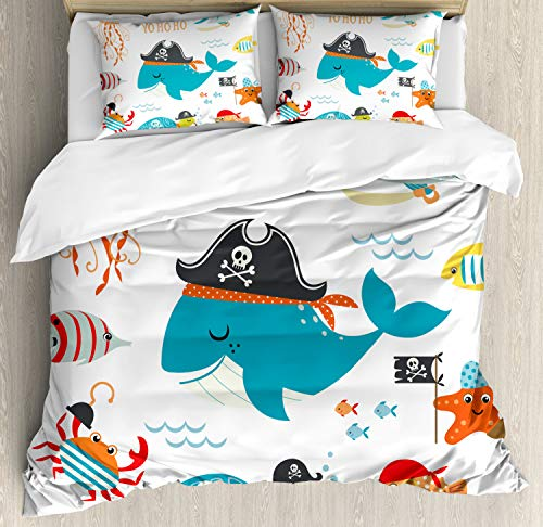 Ambesonne Pirate Duvet Cover Set, Ahoy Pirate Whale Turtle Pipe Hook Crab Octopus Captain Seastar and Swordfish Art, Decorative 3 Piece Bedding Set with 2 Pillow Shams, Queen Size, Sea Blue