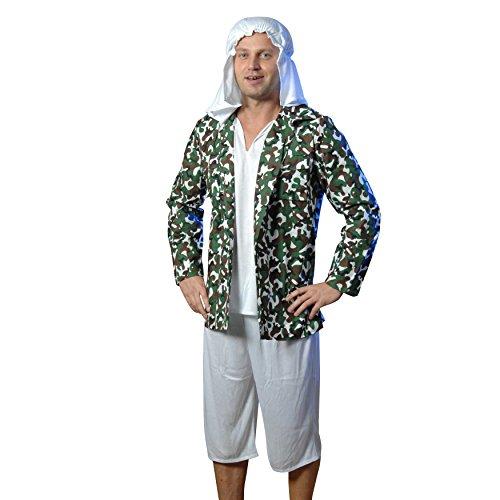 Zoelibat 97185542.503L - Herren Kostüm Terrorist - Partykostüm 3 teilig -  L (52/54), weiß / Tarnfarben