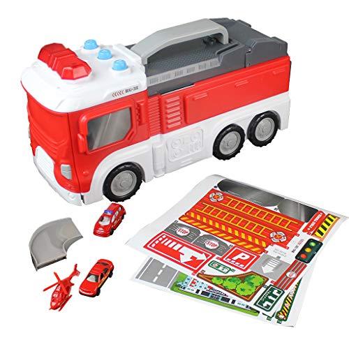 B Blesiya Juguete de Camión de Bomberos Electrónico Transformación en Estacionamiento con Pista de Carrera Regalo de Cumpleaños Navidad para Niños