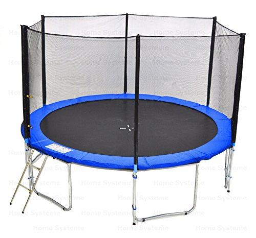 Giardino trampolino (BW) 400 cm con 13ft rete di sicurezza - TÜV / GS / CE - 180 kg forza peso Rete di sicurezza, Scala & Cover