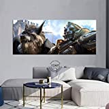 LYFCV Anduin Wrynn World of Warcraft: Battle for Azeroth póster de Videojuego Paisaje Pared Arte Lienzo Pinturas para decoración del hogar 50x120cm sin Marco