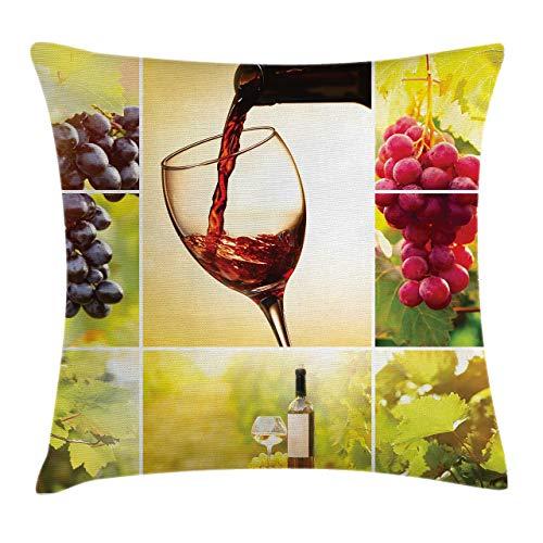 Funda de cojín de vino, collage de hábitat con botella de vino y hojas, tiempo de cosecha de granja en el pueblo otoñal, 45,7 x 45,7 cm, verde rojo