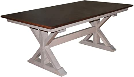 Amazon Com X Base Double Pedestal 6 Foot Dining Table W One 18 Butterfly Leaf One X Base Bench Tables