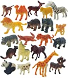 Bzkid 20pc Animal Toy Figure Set for Kids , Mini Animal World Zoo Model Figure Action Toy Set Collection Toy for Kids