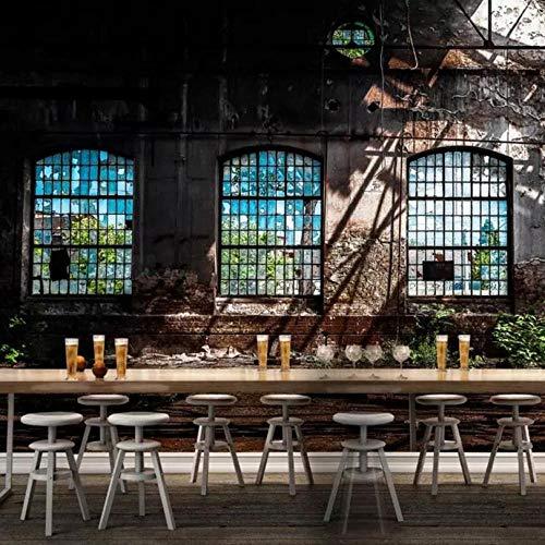 Shuangklei 3D-fotobehang Retro industrieel windwindwindvenster grote kunst wandschilderij bar restaurant papier peint wandafbeelding 3D 150 x 120 cm.