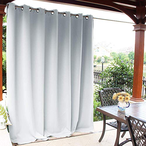 NICETOWN Outdoor Curtain for Patio Waterproof, Rust-Proof Grommet Thermal Insulated Room Darkening Panel for Outdoor Entertaining Space(Greyish White, 1 Panel, W100 x L84 Inch)