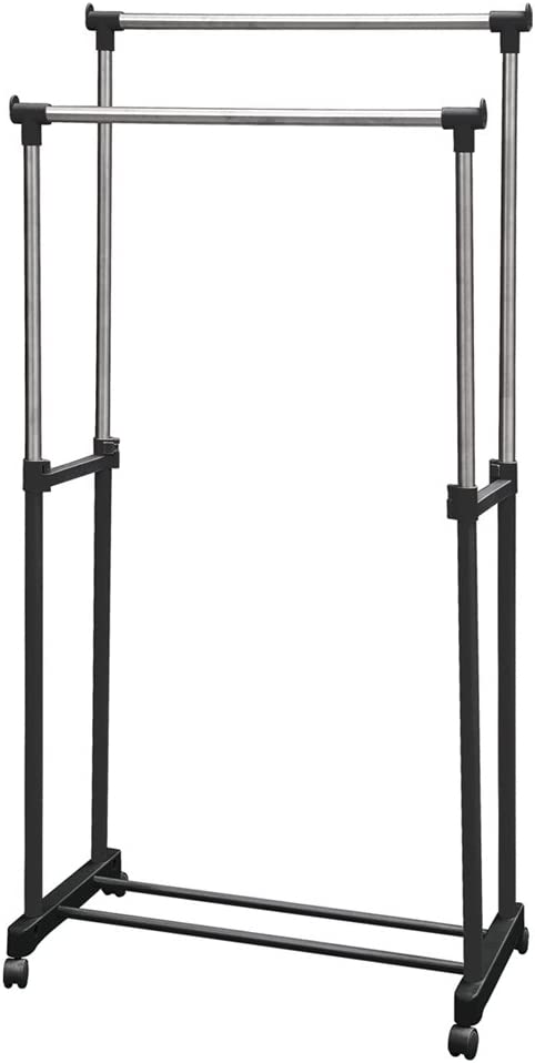 Home Vida Cheap super special price Special price Double Garment Rack Clothes Rail Adjustable Silver