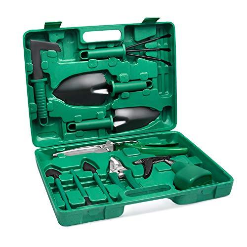 Aufun 10 Stück Gartengeräte Set Robuste Gartenwerkzeug inkl. Schaufel, Unkrautmesser, Gartenschere, Sprühflasche in Tragetasche Ergonomische Gartenwekzeuge für die Gartenpflege Gartenarbeit, Grün