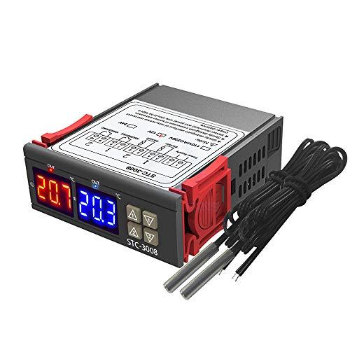 KKmoon Thermostat Dual Digital Display Temperaturregler mit Doppel NTC Sonde Heizung Sensor Sonde Zwei Relais Ausgang