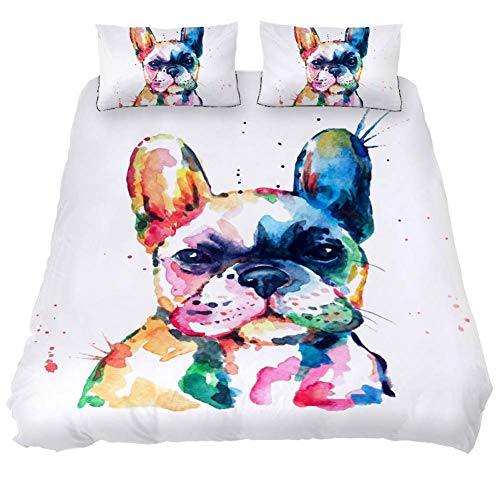 Dragon Sword 3PCS Bed Sheet Set Watercolor French Bulldog Printed Microfiber Comfortable Comforter Cover with 2 Pillow Cases (Twin Size 59 x 79/19 x 29 in)