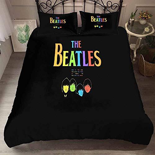 Earendel The Beatles - Juego de Funda de edredón y Fundas de Almohada (Metal, 2/3/4 Piezas), diseño de The Beatles, Microfibra, 5, Super King-220×260cm-3PCS