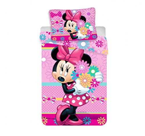 Jerry Fabrics Mickey & Friends CharacterKinderBettwäsche mit ReißverschlussBettbezug 140 x 200 cm und Kissenbezug 70 x 90 cm, Baumwolle, Pink, 200 x 90 x 0.5 cm