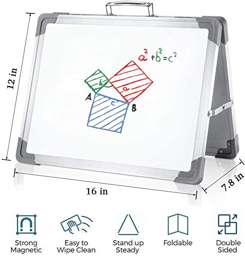"""elife Foldable Dry eraseboard 12""""x16"""" Magnetic Portable whiteboard Double Sided Desktop Foldable Classroom Home Office, 3 Black Markers, 2 Blue Magnets"""