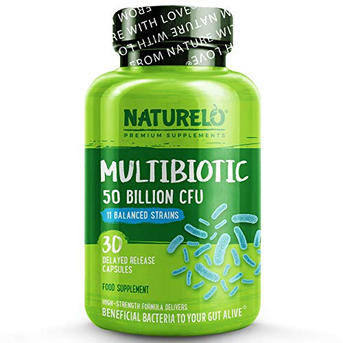 NATURELO Multibiotic - Ultra Strength - 50 Billion CFU - 11 Strains - One Daily - Best for Digestive Health and General Wellness - No Refrigeration Needed - 30 Vegan Capsules | 1 Month Supply