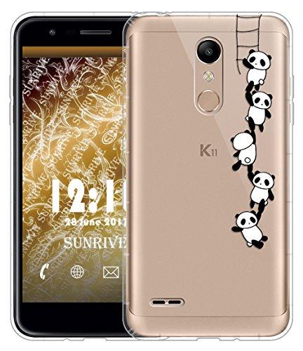 Sunrive Funda para LG K11, Silicona Slim Fit Gel Transparente Carcasa Case Bumper de Impactos y Anti-Arañazos Cojín de Aire Espalda Cover(TPU Panda 1)