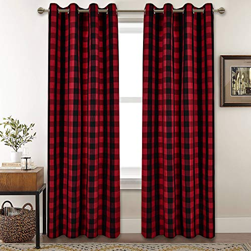Red and Black Buffalo Checker Plaid Curtains for Farmhouse Bedroom Gingham Light Filtering Window Drapes Grommet Curtains for Living Room Set of 2 Panels Each is 52Wx84L
