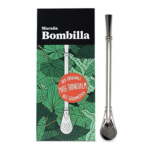 Marania® Bombilla Yerba Mate Tee Strohhalm Löffel mit Sieb ● Edelstahl silber lang groß ● Trinkrohr Trinkhalm Löffel Filter