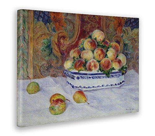 Giallobus - Cuadro - Impresion EN Lienzo - Renoir - BODEGÓN con Melocotones Y Uvas - 50 x 70 CM