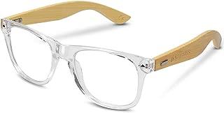 Navaris Vintage Non Prescription Glasses - Unisex Eyewear with Bamboo Frames