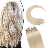 12'(30cm) SEGO Extensiones Adhesivas de Cabello Natural VOLUMEN GRUESO [3g*20PCS] #70 Blanqueador Blanco Pelo Humano 100% Remy sin Clip Tape in Hair (60g)
