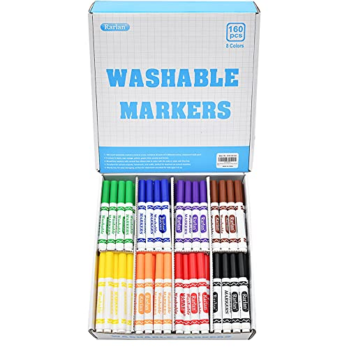 Rarlan Washable Markers Bulk, Markers for Kids, Classpack, 8 Colors, 160 Count