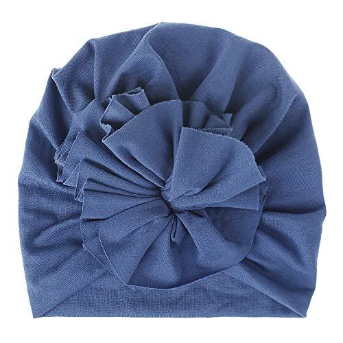 LINGZIA Fiore Berretto in stoffa di cotone lavorato a maglia da neonato Fiore carino Cappello da bambina Morbido berretto da neonato Cuffia Cowboybluewhite