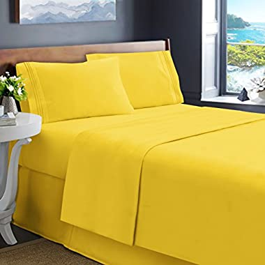 Hearth & Harbor Soft Luxury Best Quality Double Brushed Microfiber Fitted Bed Sheets, Queen, Yellow, 4 Piece